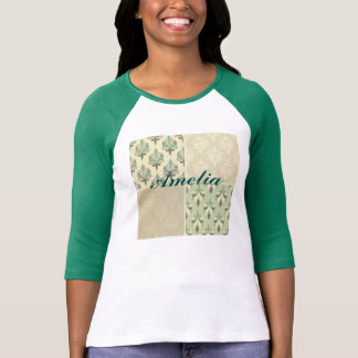 Multi teal color fall damask royal chic elegant tee shirts