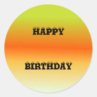 Multi Tones Happy Birthday Round Sticker