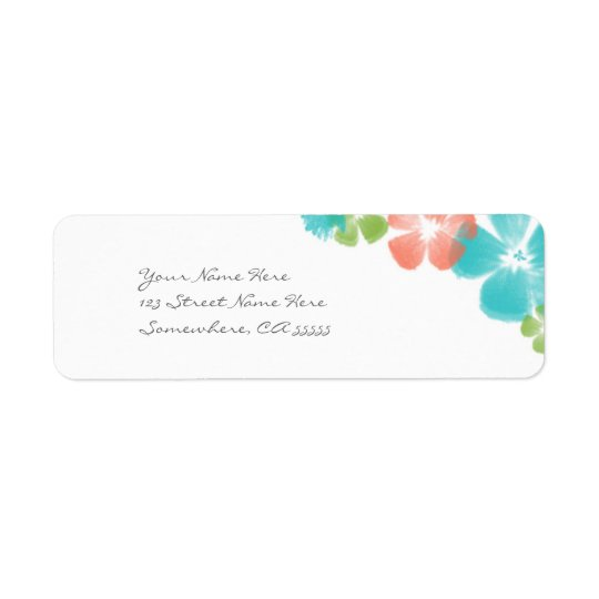 Multi Tropical Watercolor Flowers Address Labels