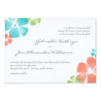 Multi Tropical Watercolor Flowers Wedding Invite