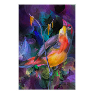 Multi water color yellow and orange swallow bird poster