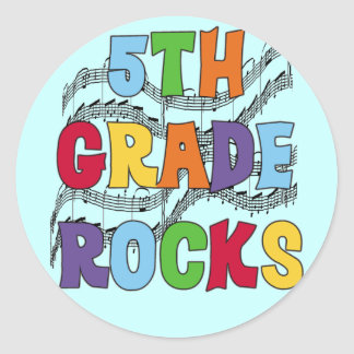 Multicolor 5th Grade Rocks T shirts and Gifts Round Sticker