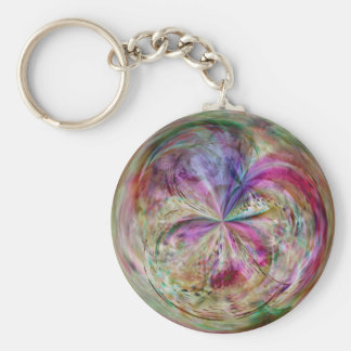 Multicolor Abstract Bubble Mandala Basic Round Button Key Ring
