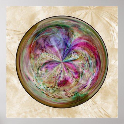 Multicolor Abstract Bubble Mandala Posters