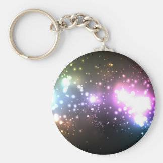 Multicolor Abstract Particles Basic Round Button Key Ring