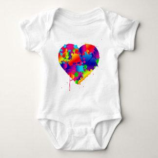 Multicolor Art Heart Baby Bodysuit
