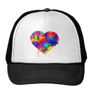 Multicolor Art Heart Cap