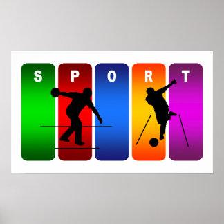 Multicolor Bowling Emblem Poster