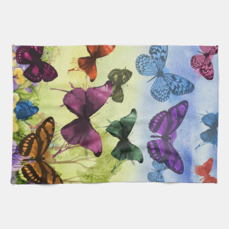 Multicolor Butterfly Watercolor Painting Tea Towel