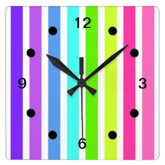 Multicolor Candy Striped Square Wall Clock