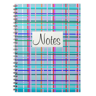Multicolor check stripes pattern on blue spiral notebooks