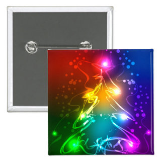 Multicolor Christmas Tree 15 Cm Square Badge