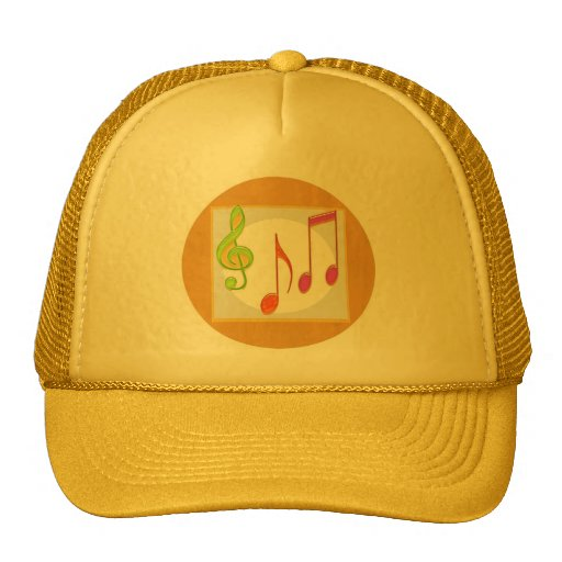 Multicolor Dancing Music Symbols Mesh Hats