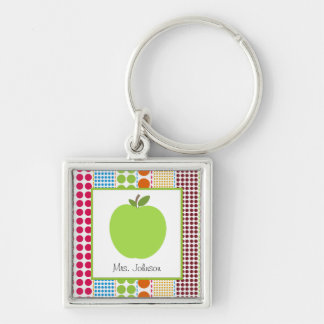 Multicolor Dots Green Apple Personalized Teacher Silver-Colored Square Key Ring