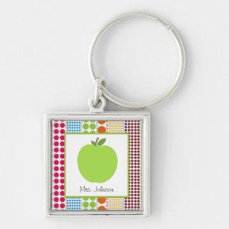 Multicolor Dots Green Apple Personalized Teacher Silver-Colored Square Key Ring