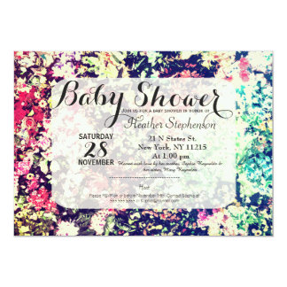 Multicolor Elegant Floral Collage Pattern 13 Cm X 18 Cm Invitation Card