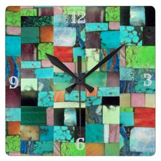 Multicolor Gemstone Mosaic Look Clock Turquoise