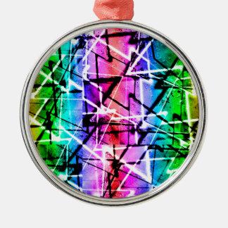 Multicolor Geometric Grunge Silver-Colored Round Decoration