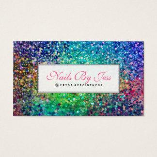 Multicolor Glitter Texture Business Card