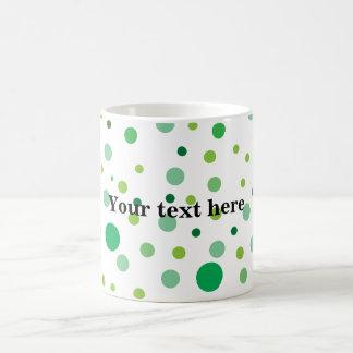 Multicolor green polka dots coffee mugs