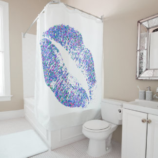 Multicolor Grit Glitter Lips #18 Shower Curtain