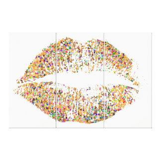 Multicolor Grit Glitter Lips #24 Canvas Print