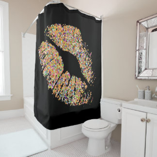 Multicolor Grit Glitter Lips #2 Shower Curtain