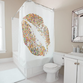 Multicolor Grit Glitter Lips #31 Shower Curtain