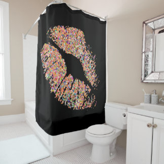 Multicolor Grit Glitter Lips #8 Shower Curtain