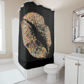 Multicolor Grit Glitter Lips Shower Curtain