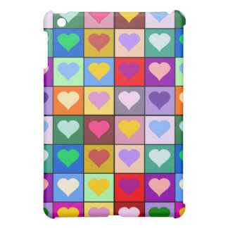 Multicolor Heart Squares iPad Mini Cover
