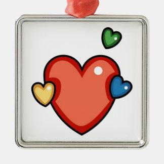 Multicolor Hearts Christmas Ornaments