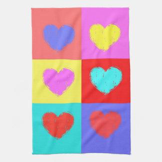 Multicolor Hearts Tea Towel