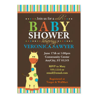 MultiColor Jungle Giraffe Baby Shower Invitations