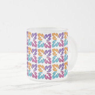 Multicolor Leaves Pattern Frosted Glass Mug
