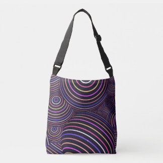 Multicolor lines and spheres on cross body bag