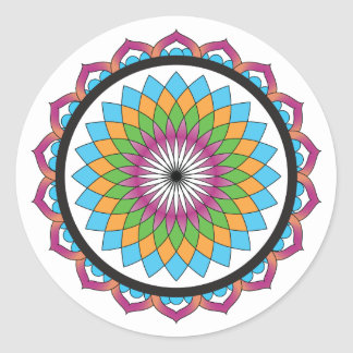 Multicolor Lotus Round Sticker