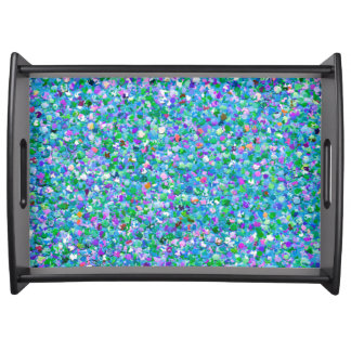Multicolor Mosaic Modern Grit Glitter #2 Serving Tray