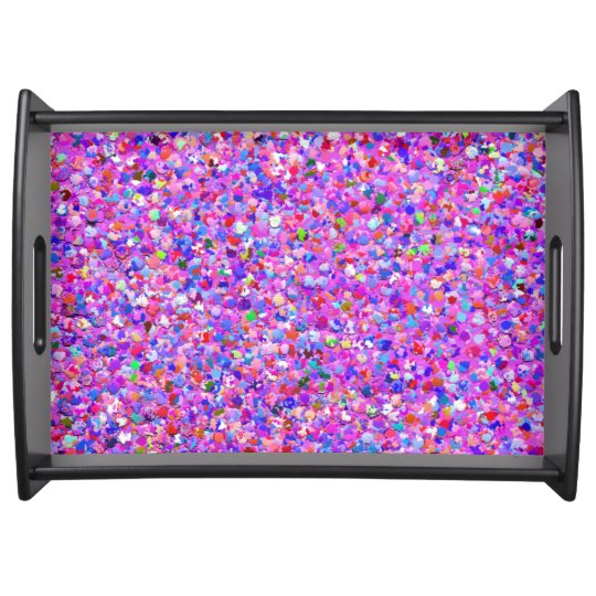 Multicolor Mosaic Modern Grit Glitter #3 Serving Tray