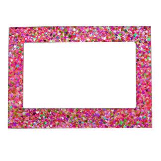 Multicolor Mosaic Modern Grit Glitter #4 Magnetic Frame