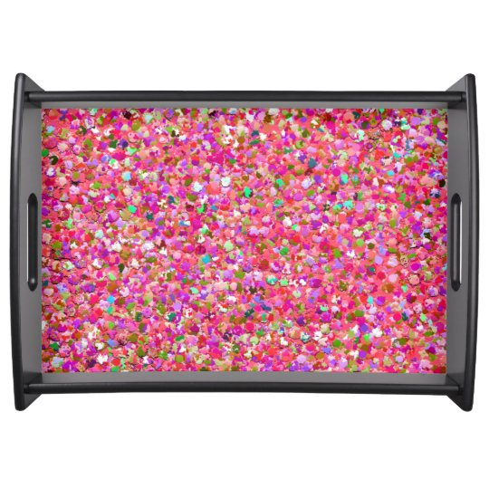 Multicolor Mosaic Modern Grit Glitter #4 Serving Tray