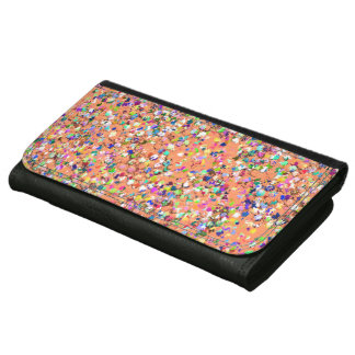 Multicolor Mosaic Modern Grit Glitter #5 Leather Wallet For Women
