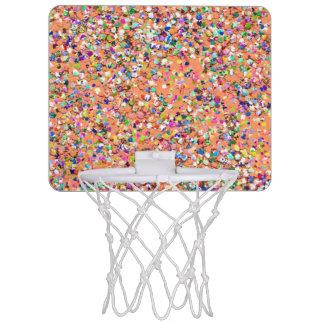 Multicolor Mosaic Modern Grit Glitter #5 Mini Basketball Hoop