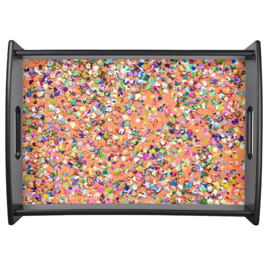Multicolor Mosaic Modern Grit Glitter #5 Serving Tray