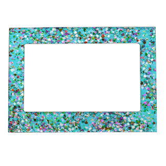 Multicolor Mosaic Modern Grit Glitter #7 Magnetic Picture Frame