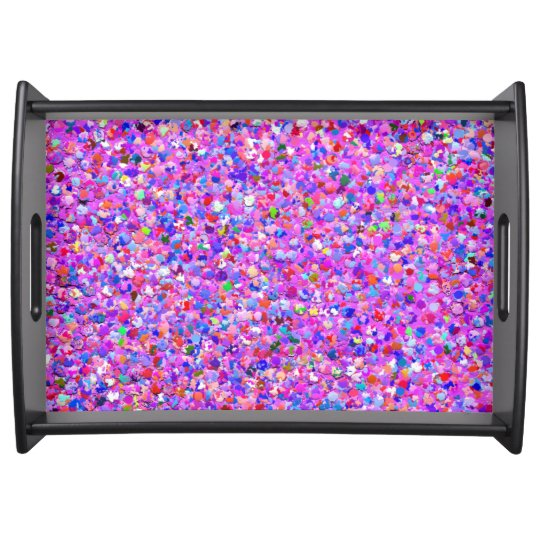 Multicolor Mosaic Modern Grit Glitter #8 Serving Tray