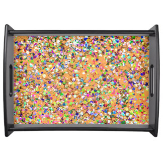 Multicolor Mosaic Modern Grit Glitter #9 Serving Tray