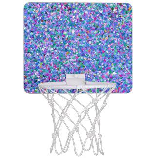 Multicolor Mosaic Modern Grit Glitter Mini Basketball Hoop