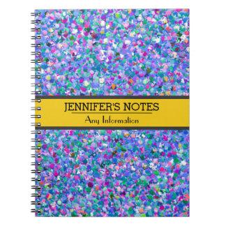 Multicolor Mosaic Modern Grit Glitter Notebooks
