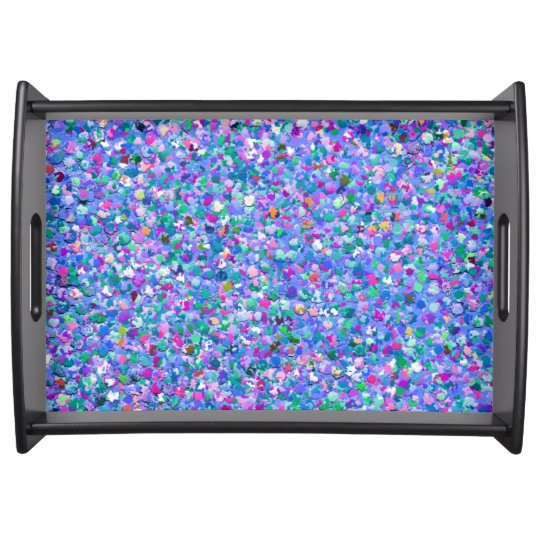 Multicolor Mosaic Modern Grit Glitter Serving Tray